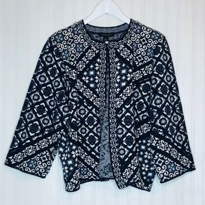 Atmosphere NWT Blue print open sweater size XL
